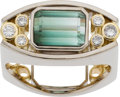Estate Jewelry:Rings, Gentleman's Tourmaline, Diamond, Twotone Gold Ring, MichaelSugarman. ...