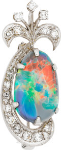 Estate Jewelry:Pendants and Lockets, Opal, Diamond, White Gold Pendant-Brooch. ...