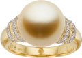 Estate Jewelry:Rings, Golden South Sea Cultured Pearl, Diamond, Gold Ring, Robert Wander....