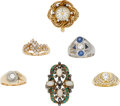Estate Jewelry:Lots, Lot of Diamond, Multi-Stone, Gold Rings. ... (Total: 6 Items)