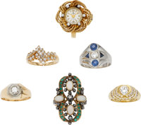 Lot of Diamond, Multi-Stone, Gold Rings