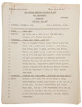 Movie/TV Memorabilia:Documents, Rudy Vallee's Personal Palm Beach Story Radio Script....