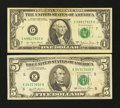 Error Notes:Ink Smears, Fr. 1910-G $1 1977A Federal Reserve Note. Extremely Fine-AboutUncirculated.. Fr. 1976-E $5 1981 Federal Reserve Note. Fin...(Total: 2 notes)