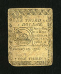 Colonial Notes:Continental Congress Issues, Continental Currency February 17, 1776 $1/3 Very Good-Fine....