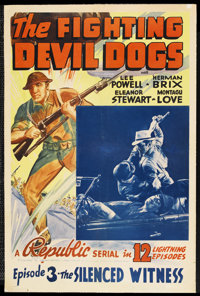 """The Fighting Devil Dogs (Republic, 1938). One Sheet (27"""" X 41"""") Episode 3 -- """"The Silenced Witness.""""..."""