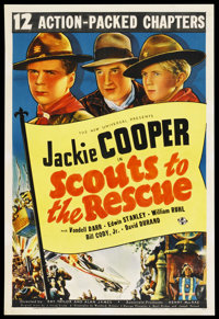 "Scouts to the Rescue (Universal, 1939). Stock One Sheet (27"" X 41""). Serial. Starring Jackie Cooper, David Dur..."