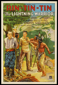 "The Lightning Warrior (Mascot, 1931). One Sheet (27"" X 41"") Chapter 3 -- ""Empty Saddles."" Serial. St..."