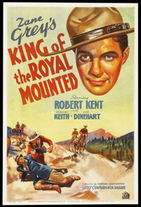 "King of the Royal Mounted (20th Century Fox, 1936). One Sheet (27"" X 41""). Drama. Starring Robert Kent, Rosali..."