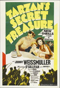 "Tarzan's Secret Treasure (MGM, 1941). One Sheet (27"" X 41""). Adventure. Starring Johnny Weissmuller, Maureen O..."