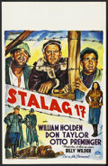 "Movie Posters:War, Stalag 17 (Paramount, 1953). Belgian (14"" X 22""). War. StarringWilliam Holden, Don Taylor, Otto Preminger, Robert Strauss, ..."