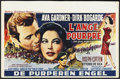 "Movie Posters:War, The Angel Wore Red (MGM, 1960). Belgian (14"" X 22""). War. StarringAva Gardner, Dirk Bogarde, Joseph Cotton and Vittorio De ..."