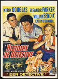 "Movie Posters:Crime, Detective Story (Paramount, 1951). Belgian (14"" X 19""). Crime.Starring Kirk Douglas, Eleanor Parker, William Bendix, Cathy ..."