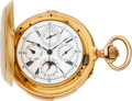 Timepieces:Pocket (pre 1900) , James Nardin, Locle, Extremely Fine Gold Minute Repeating PocketWatch With Chronograph, Perpetual Calendar & Moon Phase,circ...