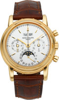 Timepieces:Wristwatch, Patek Philippe Very Fine Ref. 3970E Perpetual Calendar WithChronograph, Moon Phase, Leap Year & 24 Hour Indication, circa200...
