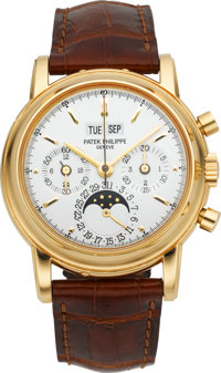 Patek Philippe Very Fine Ref. 3970E Perpetual Calendar With Chronograph, Moon Phase, Leap Year & 24 Hour Indicat...