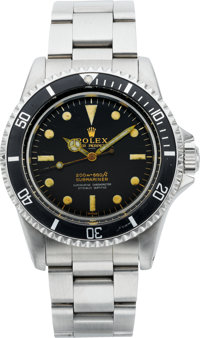 Rolex Rare Ref. 5512 Submariner, Underlined Four Line Gilt Dial, Pointed Crown Guard, Box & Papers, circa 1960's