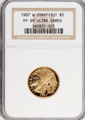 1987-W G$5 Constitution Gold Five Dollar PR69 Ultra Cameo NGC. NGC Census: (177/7). PCGS Population (9238/1129). Mintage...
