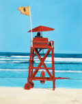 Mainstream Illustration, RON BALABAN (American, 20th Century). Lifeguard Station. Oilon canvas. 30 x 24 in.. Signed lower right. ...