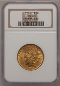 Indian Eagles: , 1915 $10 MS60 NGC. NGC Census: (79/2514). PCGS Population(55/1804). Mintage: 351,075. Numismedia Wsl. Price for problemfr...