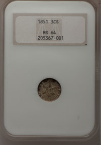 1851 3CS MS64 NGC. NGC Census: (383/238). PCGS Population (348/272). Mintage: 5,447,400. Numismedia Wsl. Price for probl...