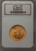 Indian Eagles: , 1912 $10 MS62 NGC. NGC Census: (1742/984). PCGS Population (1435/927). Mintage: 405,083. Numismedia Wsl. Price for problem ...
