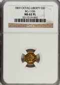 California Fractional Gold: , 1869 $1 Liberty Octagonal 1 Dollar, BG-1106, High R.4, MS62Prooflike NGC. NGC Census: (1/4). (#71...