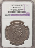 Coins of Hawaii: , 1883 $1 Hawaii Dollar--Improperly Cleaned--NGC Details. XF. NGCCensus: (37/209). PCGS Population (109/359). Mintage: 500,0...
