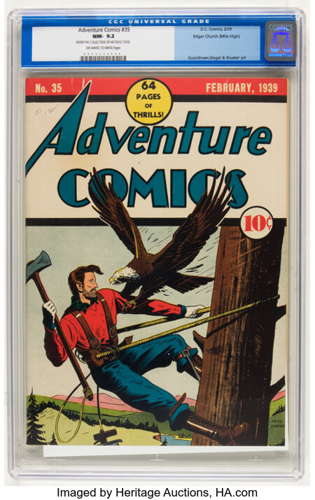 Adventure Comics #35 Mile High pedigree (DC, 1939) CGC NM- 9.2 Off-white to white pages....