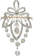 Estate Jewelry:Brooches - Pins, Edwardian Diamond, Gold Pendant-Brooch, French. ...