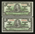 Canadian Currency: , BC-21c $1 1937. ... (Total: 2 notes)