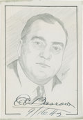 "Baseball Collectibles:Others, Ed Barrow Signed Original Artwork ""Raitt Collection""...."