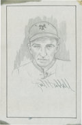 "Baseball Collectibles:Others, Carl Hubbell Signed Original Artwork ""Raitt Collection""...."