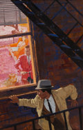 Pulp, Pulp-like, Digests, and Paperback Art, BEN WOHLBERG (American, b. 1927). Danger on the Fire Escape.Gouache on board. 25 x 16 in.. Signed lower left. ...