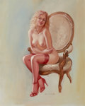 Pin-up and Glamour Art, ED TADIELLO (American, b. 1950). Blonde with Red Stockings.Oil on canvas mounted to board. 20 x 16 in.. Signed lower ce...