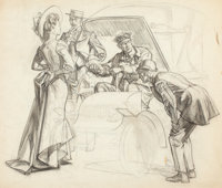 DEAN CORNWELL (American, 1892-1960) Figures with Auto Charcoal on paper 19.5 x 22 in. Initiale