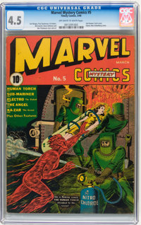 Marvel Mystery Comics #5 (Timely, 1940) CGC VG+ 4.5 Off-white to white pages