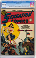 Golden Age (1938-1955):Superhero, Sensation Comics #1 Crowley Copy pedigree (DC, 1942) CGC NM- 9.2 Off-white to white pages....