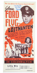 Movie/TV Memorabilia:Autographs and Signed Items, Evelyn Keyes Signed Reproduction Flight Lieutenant Poster toGlenn Ford Family....