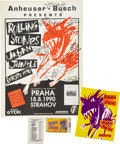 Music Memorabilia:Posters, The Rolling Stones Strahov Stadium, Prague, Signed Concert Poster(1990).... (Total: 4 )