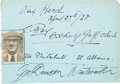 Golf Collectibles:Autographs, 1928 Alex Herd, Ted Ray & George Duncan Signed Album Page....