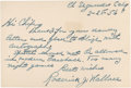"Autographs:Others, 1956 Roderick ""Bobby"" Wallace Handwritten Signed Note...."