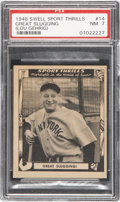 "Baseball Cards:Singles (1940-1949), 1948 Swell Sport Thrills ""Great Slugging!"" (Lou Gehrig) #14 PSA NM 7...."