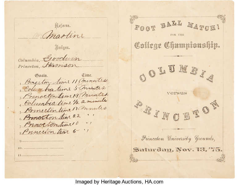 1875 Columbia vs. Princeton College Football Championship | Lot ...