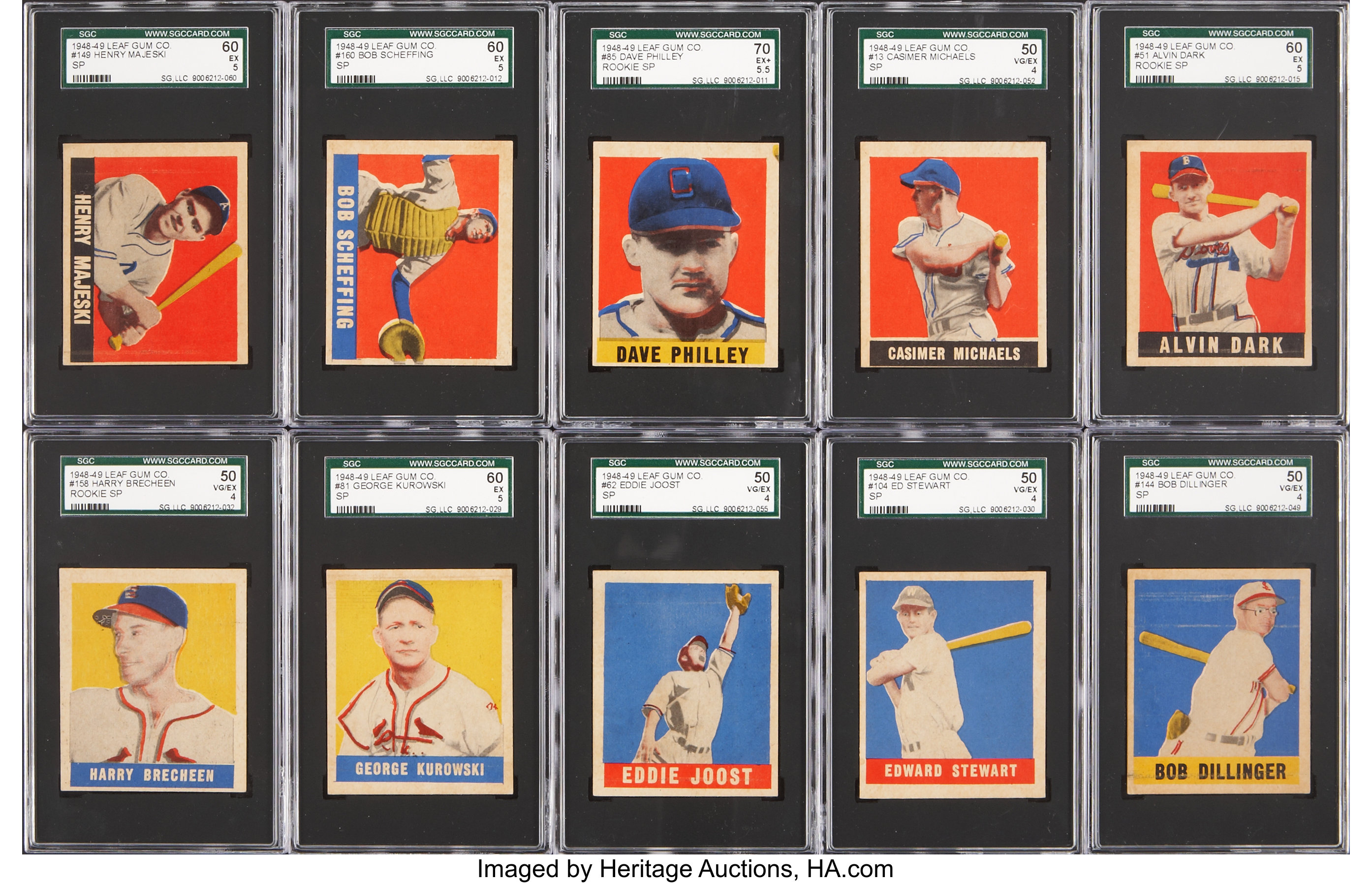 Rare 1948 49 Leaf Baseball Short Prints Sgc Graded Collection Lot