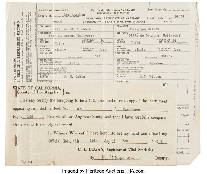 Clark Gables Marriage Certificate To His First Wife Lot 50106