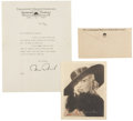 Movie/TV Memorabilia:Autographs and Signed Items, Mae West Signed Letter and Photo.... (Total: 2 Items)