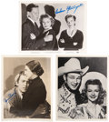 Movie/TV Memorabilia:Autographs and Signed Items, James Stewart, Barbara Stanwyck, and Roy Rogers and Dale EvansSigned Photos.... (Total: 3 Items)