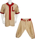 Baseball Collectibles:Uniforms, 1939 Lubbock Hubbers Game Worn Uniform....