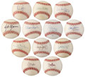 Autographs:Baseballs, 1990's 300 Win Club Single Signed Baseballs Lot of 12....