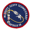 Transportation:Space Exploration, Apollo 9 Flown Embroidered Mission Patch Originally from thePersonal Collection of Mission Commander Jim McDivitt, Signedand...